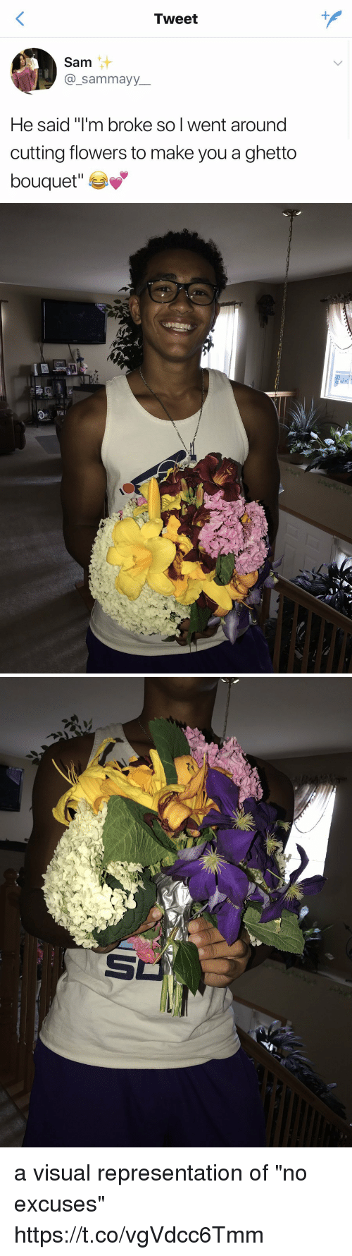 "visualizer: Tweet  Sam  _sammayy  He said ""I'm broke so I went around  cutting flowers to make you a ghetto  bouquet"" a visual representation of ""no excuses"" https://t.co/vgVdcc6Tmm"