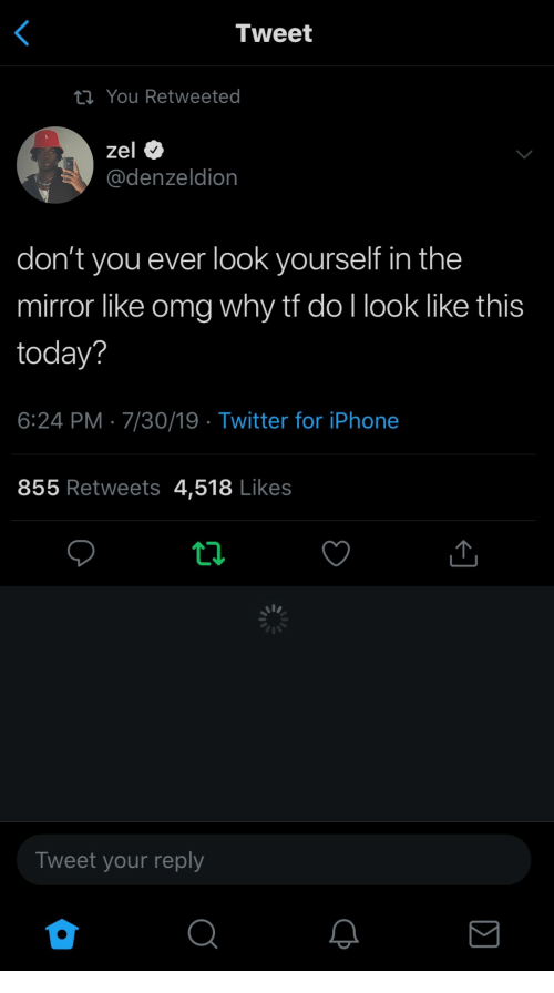Omg Why: Tweet  ta You Retweeted  zel  @denzeldion  don't you ever look yourself in the  mirror like omg why tf do I look like this  today?  6:24 PM 7/30/19 Twitter for iPhone  855 Retweets 4,518 Likes  Tweet your reply  ΙΣ