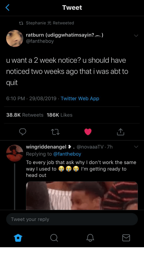 Head, Twitter, and Work: Tweet  ti Stephanie Retweeted  ratburn (udiggwhatimsayin?)  @fantheboy  u want a 2 week notice? u should have  noticed two weeks ago that i was abt to  quit  6:10 PM 29/08/2019 Twitter Web App  .  38.8K Retweets 186K Likes  wingriddenangel. @novaaaTV 7h  Replying to @fantheboy  To every job that ask why I don't work the same  way I used to  head out  I'm getting ready to  Tweet your reply