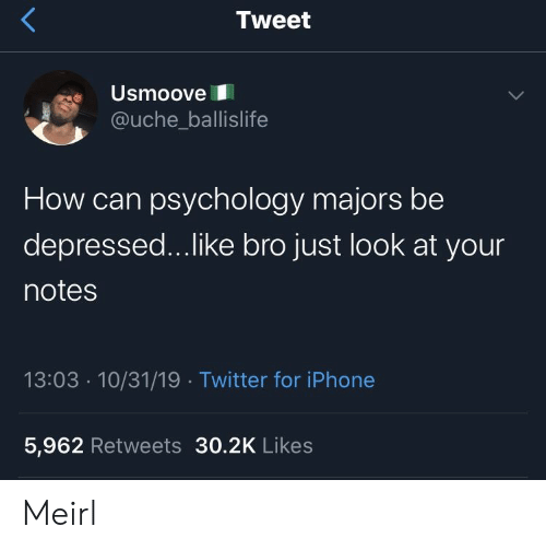 Iphone 5: Tweet  Usmoove  @uche_ballislife  How can psychology majors be  depressed...like bro just look at your  notes  13:03 10/31/19 Twitter for iPhone  5,962 Retweets 30.2K Likes Meirl