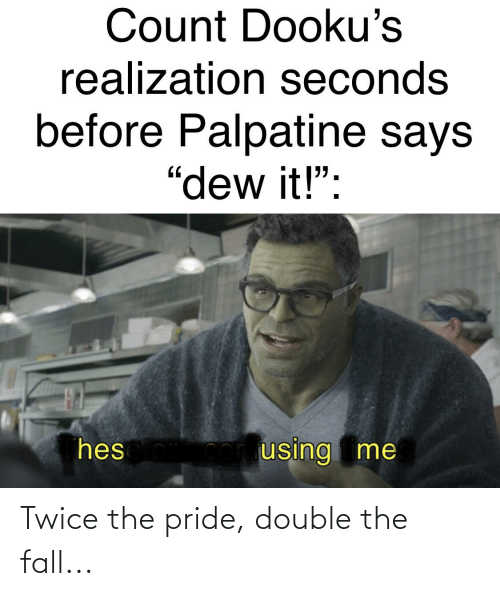 pride: Twice the pride, double the fall...