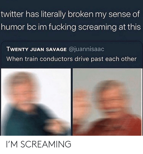 Fucking, Savage, and Twitter: twitter has literally broken my sense of  humor bc im fucking screaming at this  TWENTY JUAN SAVAGE @juannisaac  When train conductors drive past each other I'M SCREAMING