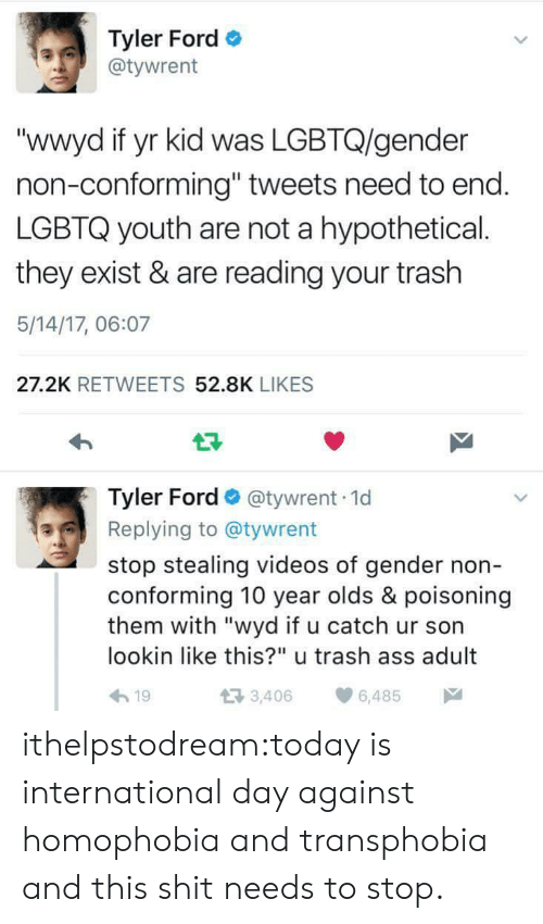 "Ford: Tyler Ford  @tywrent  ""wwyd if yr kid was LGBTQ/gender  non-conforming"" tweets need to end  LGBTQ youth are not a hypothetical.  they exist & are reading your trash  5/14/17, 06:07  27.2K RETWEETS 52.8K LIKES  Tyler Ford @tywrent 1d  Replying to @tywrent  stop stealing videos of gender non  conforming 10 year olds & poisoning  them with ""wyd if u catch ur son  lookin like this?"" u trash ass adult  h19  3,406 6,485 ithelpstodream:today is international day against homophobia and transphobia and this shit needs to stop."