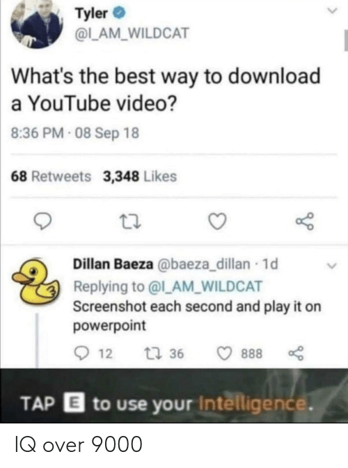 screenshot: Tyler  @L_AM_WILDCAT  What's the best way to download  a YouTube video?  8:36 PM- 08 Sep 18  68 Retweets 3,348 Likes  Dillan Baeza @baeza_dillan 1d  Replying to @l_AM_WILDCAT  Screenshot each second and play it on  powerpoint  12  t 36  888  TAP E to use your Intelligence. IQ over 9000