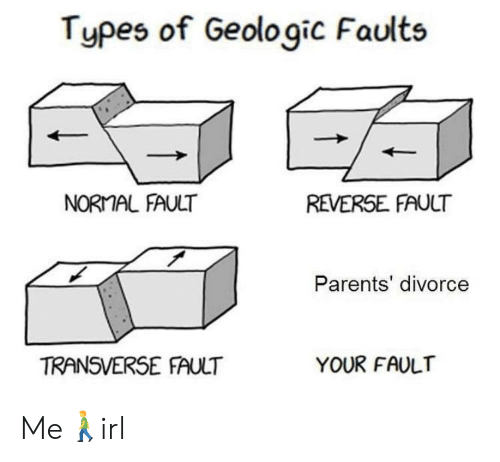 Types Of: Types of Geologic Faults  NORMAL FAULT  REVERSE FAULT  Parents' divorce  TRANSVERSE FAULT  YOUR FAULT Me🚶‍♂️irl