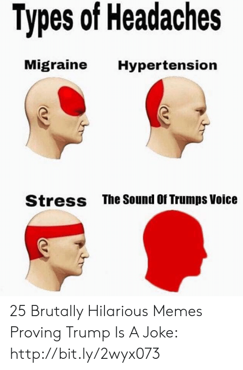Memes, Http, and Migraine: Types of Headaches  Migraine  Hypertension  The Sound Of Trumps Voice  Stress 25 Brutally Hilarious Memes Proving Trump Is A Joke: http://bit.ly/2wyx073