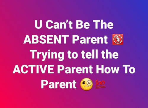 Absent: U Can't Be The  ABSENT Parent  Trying to tell the  ACTIVE Parent How To  Parent