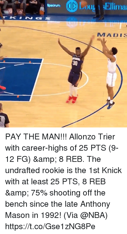 Memes, Nba, and 🤖: u Ellima  IAY  MA DIS  30 PAY THE MAN!!!  Allonzo Trier with career-highs of 25 PTS (9-12 FG) & 8 REB.  The undrafted rookie is the 1st Knick with at least 25 PTS, 8 REB & 75% shooting off the bench since the late Anthony Mason in 1992!   (Via @NBA)    https://t.co/Gse1zNG8Pe