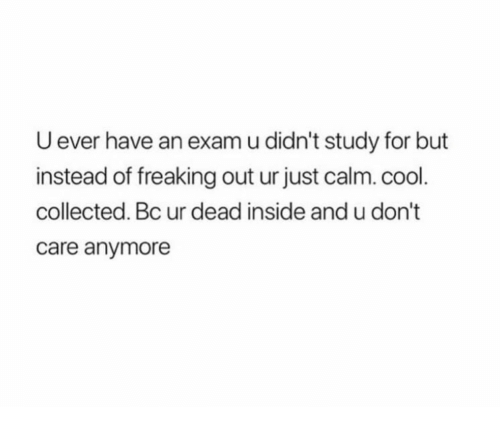 freaking out: U ever have an exam u didn't study for but  instead of freaking out ur just calm. cool  collected. Bc ur dead inside and u don't  care anymore