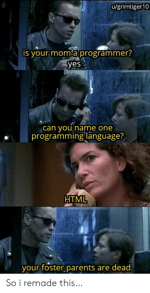 programming language: u/grimtiger10  is your moma programmer?  yes  you  programming language?  can  Iname one  HTML  your foster parents  are dead. So i remade this…