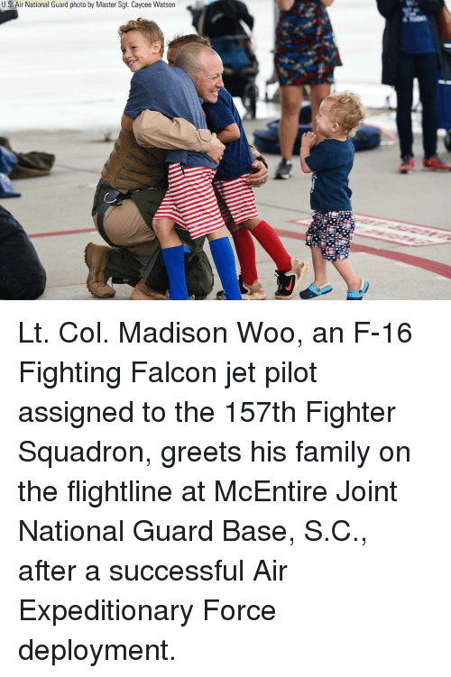 national guard: U.S. Air National Guard photo by Master Sgt. Caycee Watson Lt. Col. Madison Woo, an F-16 Fighting Falcon jet pilot assigned to the 157th Fighter Squadron, greets his family on the flightline at McEntire Joint National Guard Base, S.C., after a successful Air Expeditionary Force deployment.