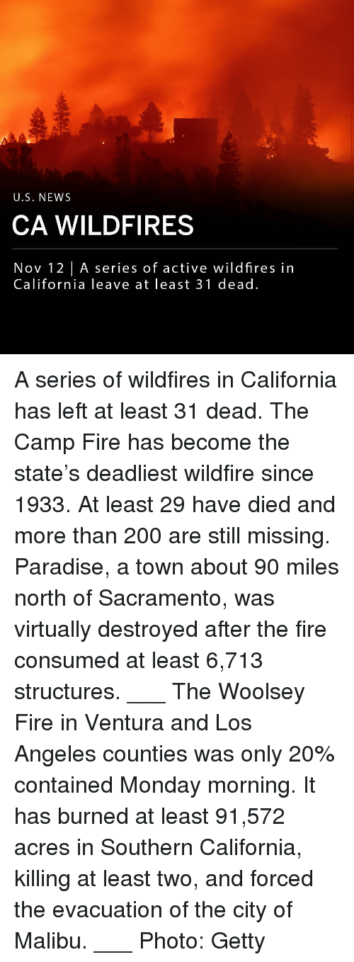 monday morning: U.S. NEWS  CA WILDFIRES  Nov 12 |A series of active wildfires in  California leave at least 31 dead. A series of wildfires in California has left at least 31 dead. The Camp Fire has become the state's deadliest wildfire since 1933. At least 29 have died and more than 200 are still missing. Paradise, a town about 90 miles north of Sacramento, was virtually destroyed after the fire consumed at least 6,713 structures. ___ The Woolsey Fire in Ventura and Los Angeles counties was only 20% contained Monday morning. It has burned at least 91,572 acres in Southern California, killing at least two, and forced the evacuation of the city of Malibu. ___ Photo: Getty