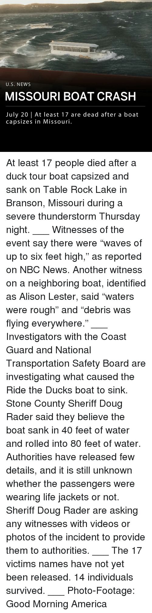 """Branson: U.S. NEWS  MISSOURI BOAT CRASH  July 20 
