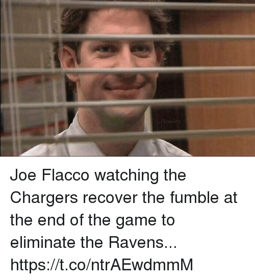 Football, Nfl, and Sports: u/Yowley Joe Flacco watching the Chargers recover the fumble at the end of the game to eliminate the Ravens... https://t.co/ntrAEwdmmM