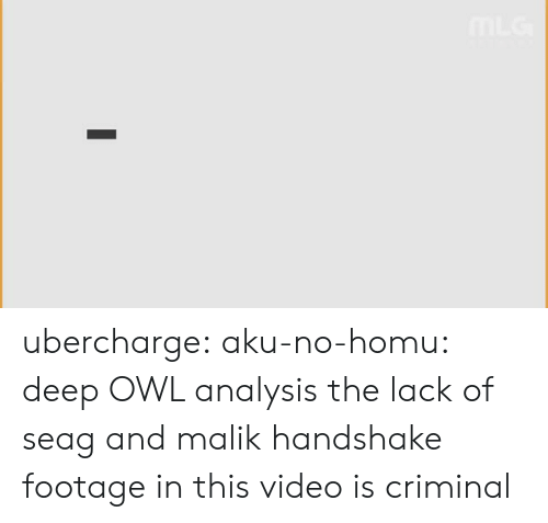 Lol, Tumblr, and youtube.com: ubercharge: aku-no-homu: deep OWL analysis the lack of seag and malik handshake footage in this video is criminal