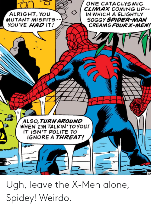 Being Alone, X-Men, and Men: Ugh, leave the X-Men alone, Spidey! Weirdo.