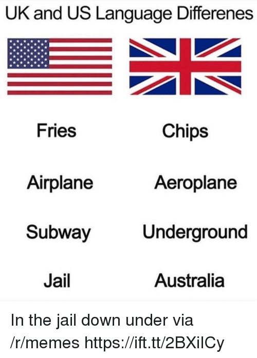 Jail, Memes, and Subway: UK and US Language Differenes  Chips  Fries  Airplane  Subway  Jail  Aeroplane  Underground  Australia In the jail down under via /r/memes https://ift.tt/2BXiICy