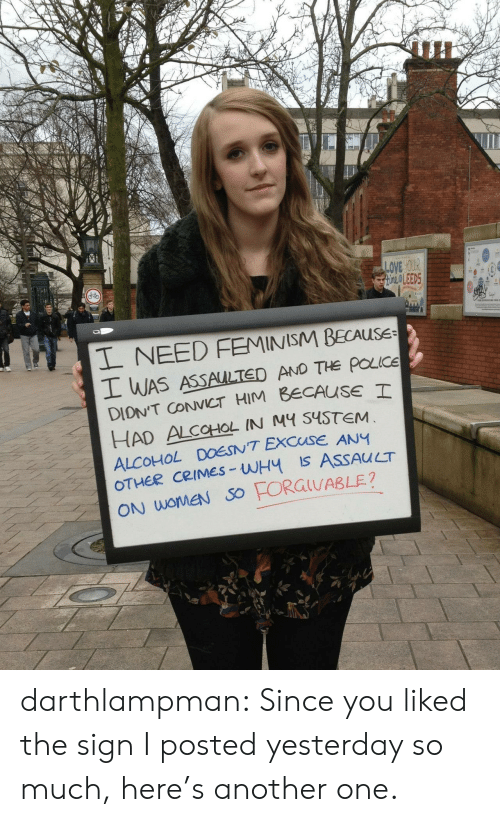 Another One, Feminism, and Love: un  LOVE yOUR  OLEED5  L NEED FEMINISM BECAUSE  WAS ASSAULTED AND THe poce  DIONT CCT HIM BECAUSE T  HAD ALCOHOL IN M S4STEM  ALCOHOL DOESNT EXCUSE ANY  CRIMES-WH Is ASSAUCT  ON WOMEN SO darthlampman:  Since you liked the sign I posted yesterday so much, here's another one.