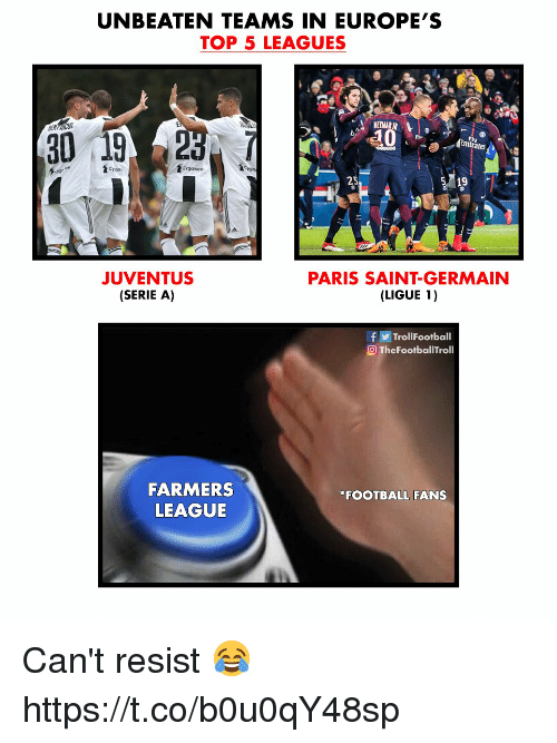 Football, Memes, and Emirates: UNBEATEN TEAMS IN EUROPE'S  TOP 5 LEAGUES  NEYMARIR  30  92  Emirates  foyganer  25  19  JUVENTUS  SERIE A)  PARIS SAINT-GERMAIN  (LIGUE 1)  fTrollFootball  O TheFootballTroll  FARMERS  LEAGUE  FOOTBALL FANS Can't resist 😂 https://t.co/b0u0qY48sp