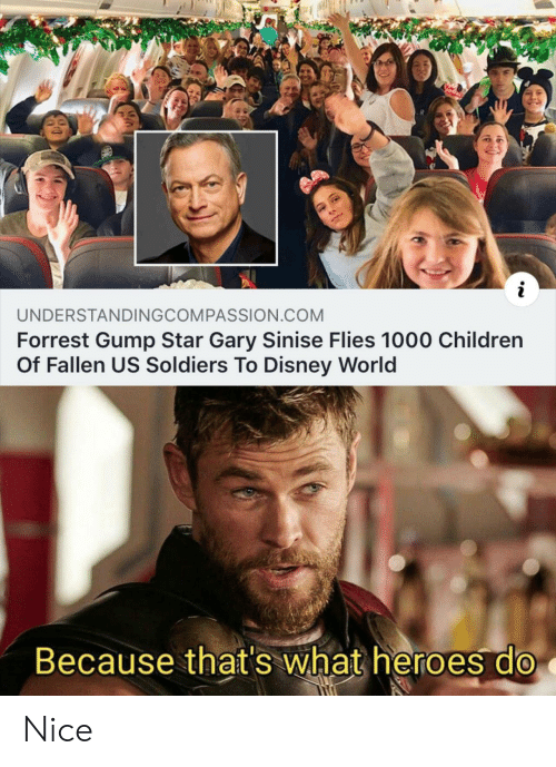 Forrest Gump: UNDERSTANDINGCOMPASSION.COM  Forrest Gump Star Gary Sinise Flies 1000 Children  Of Fallen US Soldiers To Disney World  Because that's what heroes do Nice