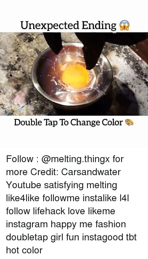 Unexpectable: Unexpected Ending  Double Tap To Change Color Follow : @melting.thingx for more Credit: Carsandwater Youtube satisfying melting like4like followme instalike l4l follow lifehack love likeme instagram happy me fashion doubletap girl fun instagood tbt hot color