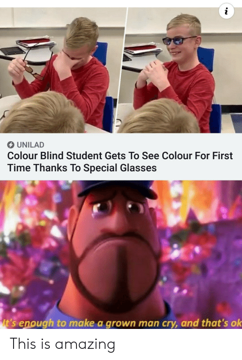 To See: UNILAD  Colour Blind Student Gets To See Colour For First  Time Thanks To Special Glasses  It's enough to make a grown man cry, and that's ok This is amazing
