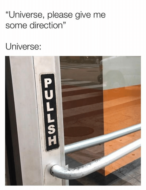 "Dank, 🤖, and Universe: ""Universe, please give me  some direction""  Universe:  PULLSU"