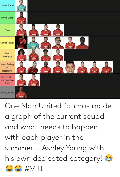 man united: Untouchable  World Class  Class  Squad Player  Good  Potential  Need Selling  and  Replacing  總de 煦色,碧總色煦  Just Need to  Leave at Any  Cost  Ashley Young One Man United fan has made a graph of the current squad and what needs to happen with each player in the summer...  Ashley Young with his own dedicated category! 😂😂😂   #MJJ