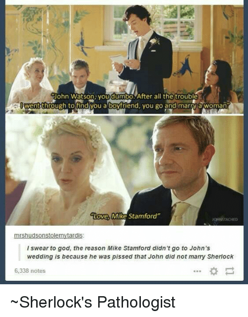 Dumbo: Uohn Watson you dumbo After all the trouble  went through tofind you a boyfriend, you go and marry a woman  Love, Mike Stamford''  OHNSTACHED  mrshudsonstolemytardis  l swear to god, the reason Mike Stamford didn't go to John's  wedding is because he was pissed that John did not marry Sherlock  6,338 notes ~Sherlock's Pathologist