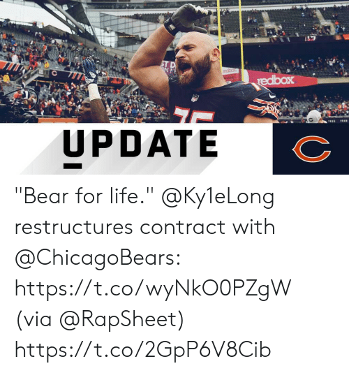 """Life, Memes, and Bear: UPDATE """"Bear for life.""""  @Ky1eLong restructures contract with @ChicagoBears: https://t.co/wyNkO0PZgW (via @RapSheet) https://t.co/2GpP6V8Cib"""