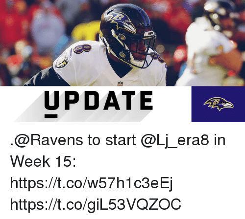 Memes, Ravens, and 🤖: UPDATE .@Ravens to start @Lj_era8 in Week 15: https://t.co/w57h1c3eEj https://t.co/giL53VQZOC