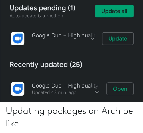 packages: Updating packages on Arch be like