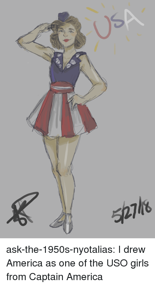 America, Girls, and Target: Us ask-the-1950s-nyotalias:  I drew America as one of the USO girls from Captain America
