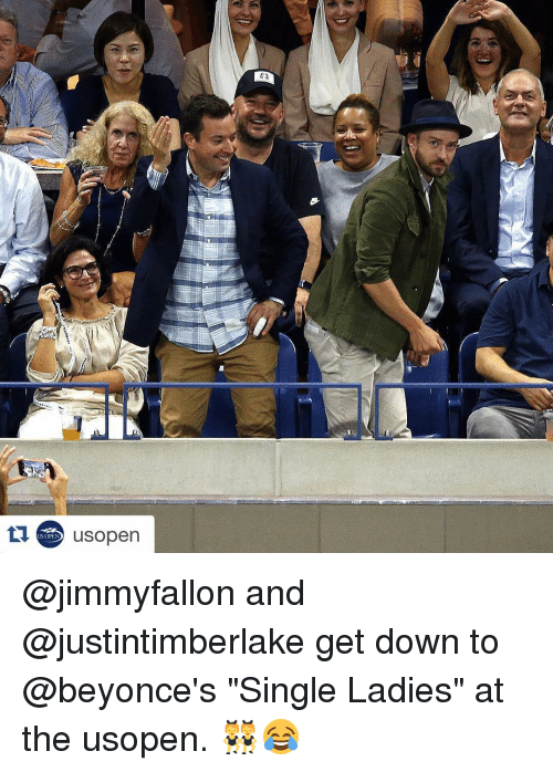 "Beyonce, Sports, and Singles: US OPEN  usopen @jimmyfallon and @justintimberlake get down to @beyonce's ""Single Ladies"" at the usopen. 👯😂"