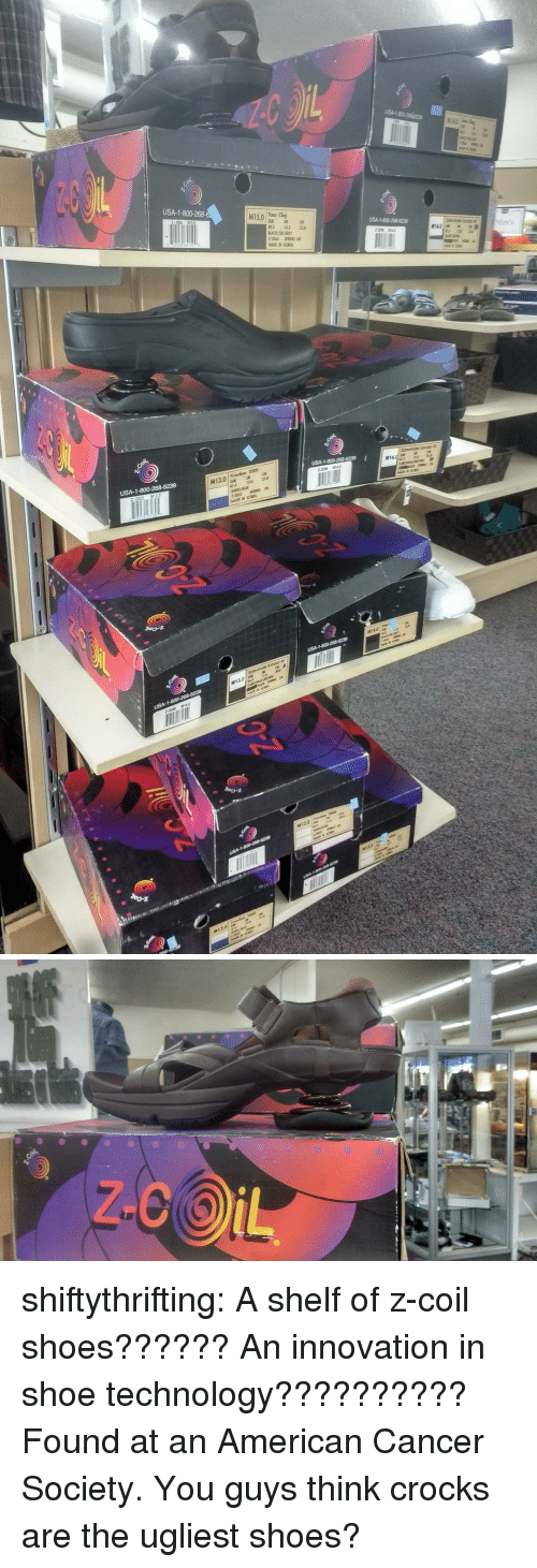 Shoes, Target, and Tumblr: USA-1-800-  M15.0 Too g  95 145  Men's  MADE IN KORE  M13.0  05 120 10  USA-1 shiftythrifting:  A shelf of z-coil shoes?????? An innovation in shoe technology?????????? Found at an American Cancer Society.  You guys think crocks are the ugliest shoes?