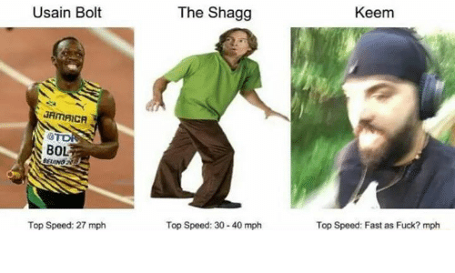 Fucking, Usain Bolt, and Fuck: Usain Bolt  JAMAICA  BOL  Top Speed: 27 mph  The Shagg  Top Speed: 30-40 mph  Keem  Top Speed: Fast as Fuck? mph