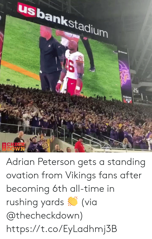 rushing: usbankstadium  26  25  Andersen  AW  CHECK  FDOWN Adrian Peterson gets a standing ovation from Vikings fans after becoming 6th all-time in rushing yards 👏 (via @thecheckdown) https://t.co/EyLadhmj3B