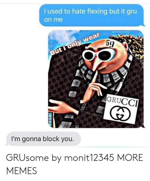 Gru: used to hate flexing but it gru  on me  emrsspooks  69  GRUCCI  I'm gonna block you. GRUsome by monit12345 MORE MEMES