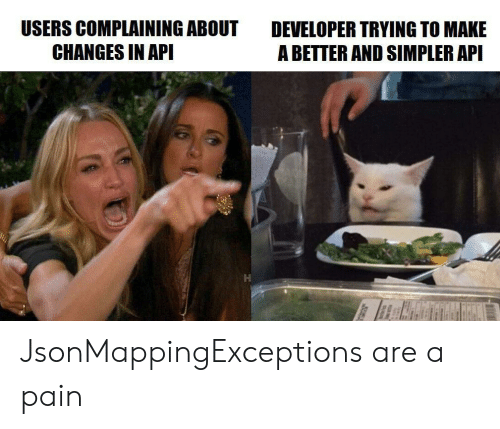 Pain, Api, and Make A: USERS COMPLAINING ABOUT  CHANGES IN API  DEVELOPER TRYING TO MAKE  A BETTER AND SIMPLER API JsonMappingExceptions are a pain