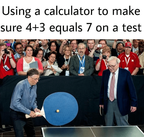 Calculator, Test, and Make: Using a calculator to make  sure 4+3 equals 7 on a test
