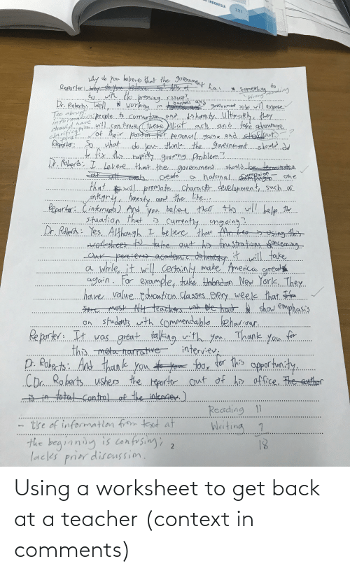 Worksheet: Using a worksheet to get back at a teacher (context in comments)