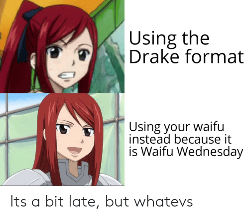 Anime, Drake, and Wednesday: Using the  Drake format  Using your waifu  instead because it  is Waifu Wednesday Its a bit late, but whatevs