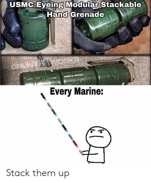 usmc: USMC Eyeing Modular Stackable  Hand Grenade  OT-1-12  Every Marine: Stack them up