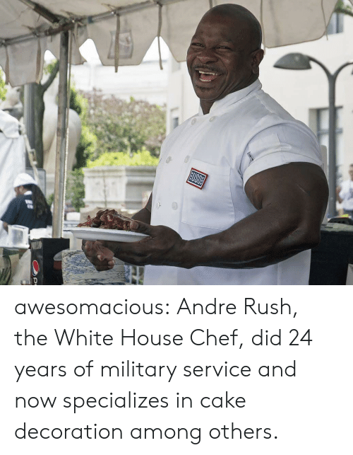 the white house: USOE awesomacious:  Andre Rush, the White House Chef, did 24 years of military service and now specializes in cake decoration among others.