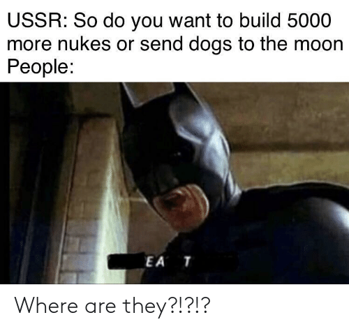 where are they: USSR: So do you want to build 5000  more nukes or send dogs to the moon  People:  EA T Where are they?!?!?