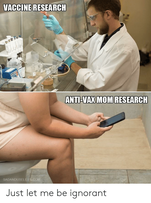 ignorant: VACCINE RESEARCH  ANTI-VAX MOM RESEARCH  SADANDUSELESS.COM Just let me be ignorant