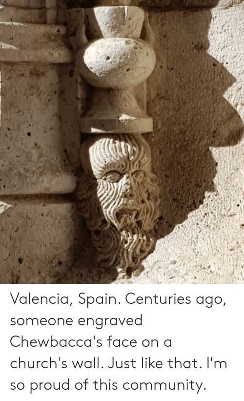 Community, Spain, and Proud: Valencia, Spain. Centuries ago, someone engraved Chewbacca's face on a church's wall. Just like that. I'm so proud of this community.