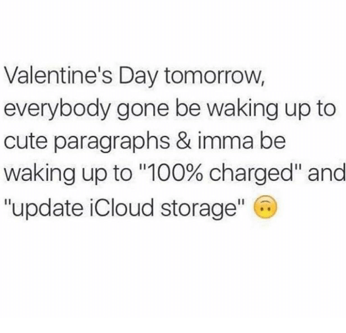 """To Cute: Valentine's Day tomorrow,  everybody gone be waking up to  cute paragraphs & imma be  Waking up to """"100% charged"""" and  """"update iCloud storage"""" C"""