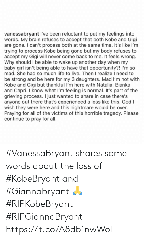 Loss: #VanessaBryant shares some words about the loss of #KobeBryant and #GiannaBryant 🙏 #RIPKobeBryant #RIPGiannaBryant https://t.co/A8db1nwWoL