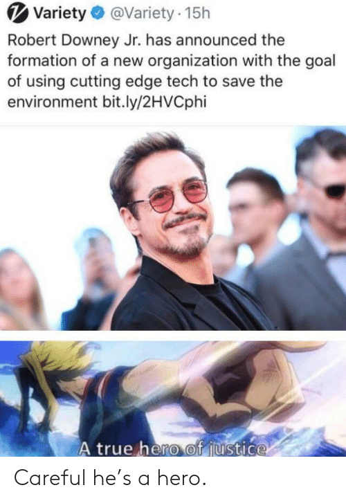 Downey: Variety@Variety 15h  Robert Downey Jr. has announced the  formation of a new organization with the goal  of using cutting edge tech to save the  environment bit.ly/2HVCphi  A true hero of justice Careful he's a hero.